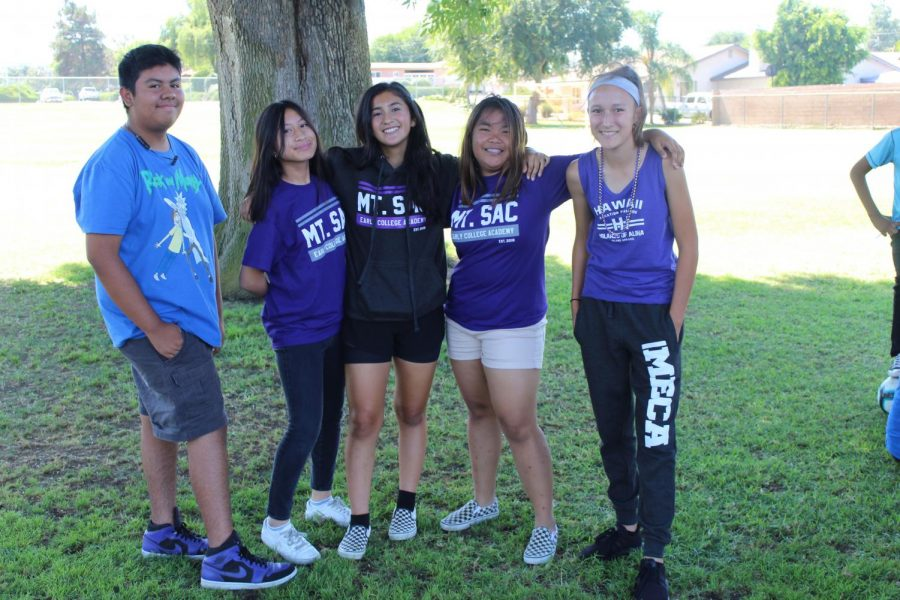 MECA Students twinning during Spirit Week. From left to right: Jonathan Gutierrez, Armie Hermogeno, Izabella Zepeda, Francine Callanta, and Maya Quintero