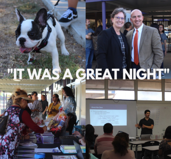 Top Left: Coco the dog, owned by students Emely and Catherine Estrada made a guest appearance at BTSN. Top Right: Ms. Leuthold, principal, with Dr. Trovatore, the Director of Secondary Ed. Bottom Left: Parents were able to sign up for Booster Club as well as participate in a fun raffle. Bottom Right: Mr. Janadi, chemistry and CCR teacher explained to parents about his class.