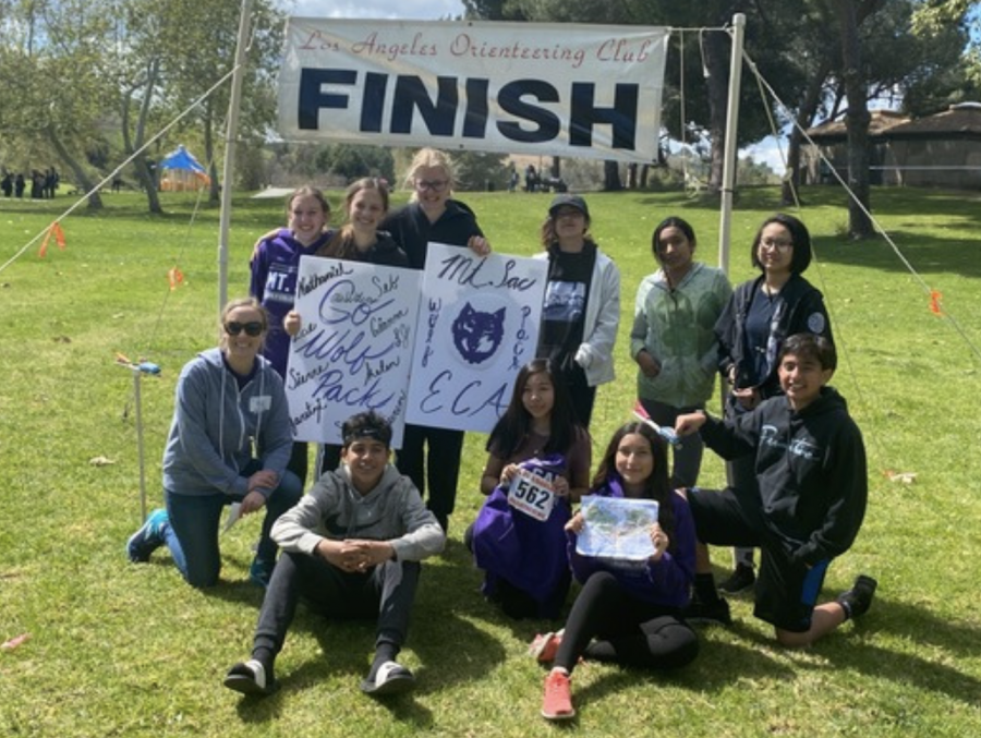 MECA's Orienteering team at their second meet. From left to right: (standing) Sydney Sherred, Lauren Pate, LJ, Montse Morales, Sierra Orozco, and Seng Lahpai. (bottom) Ms. Wilcox, Nathaniel Cadena, Giovanna Ngo, Zoe Burrola, and Sebastian Burrola.