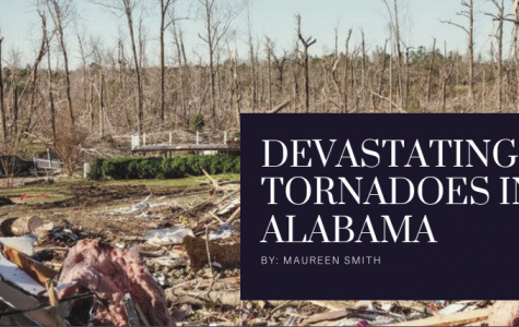 [Text] Devastating Tornadoes In Alabama, white on deep purple background [Image] The aftermath of the tornado, remnants of a house lay in the background