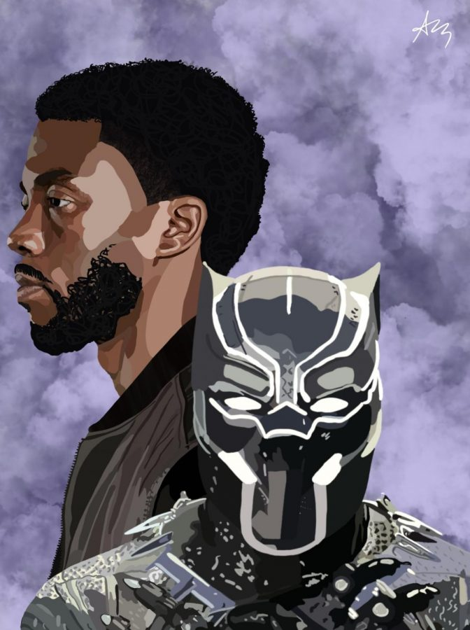 Chadwick+Boseman+grew+to+legend+status+with+his+titular+role+in+the+Marvel+movie+Black+Panther.+