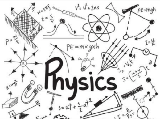Physics, an image with many formulas and tools commonly found in the fundamental science.