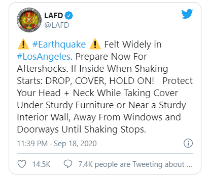 The LAPD sent several tweets like this one to remind people to take the necessary precautions.