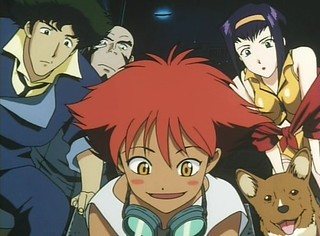 Spike Spiegel, Faye Valentine, Jet Black, & Ein watching  Edward Wong Hau Pepelu Tivrusky IV being a master at hacking.