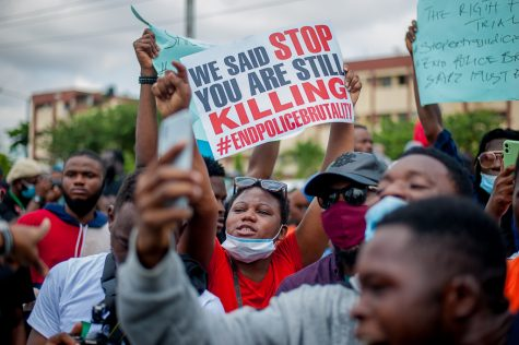 """Protesters at the endSARS protest in Lagos, Nigeria"""