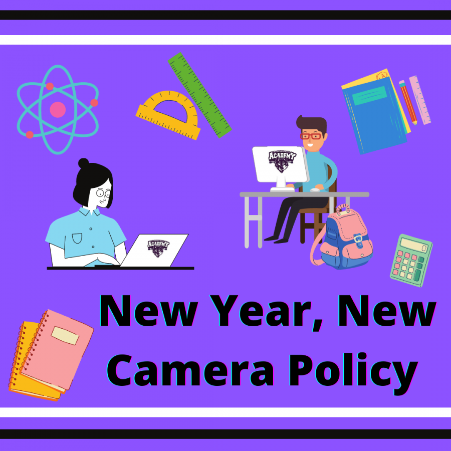New Year, New Camera Policy; students at computers with school supplies surrounding them