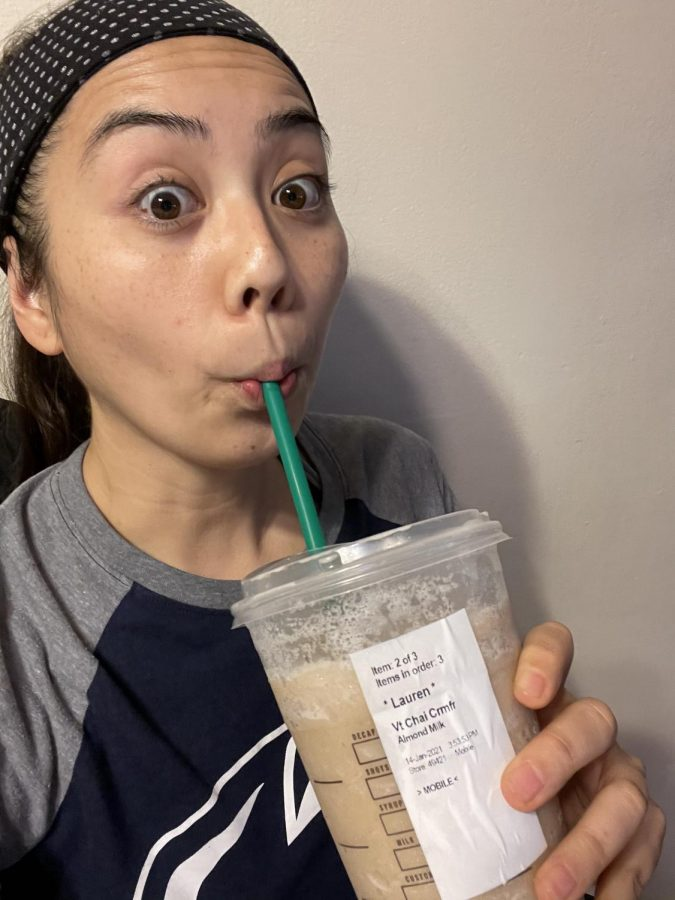 Ms. Yao and her morning pick me up!