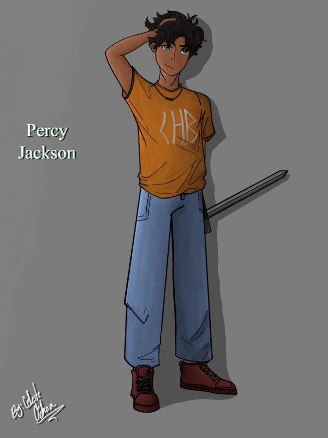 This artwork was digitally created by Celeste Ochoa, visually illustrating Percy Jackson from the Percy Jackson and The Olympians series.