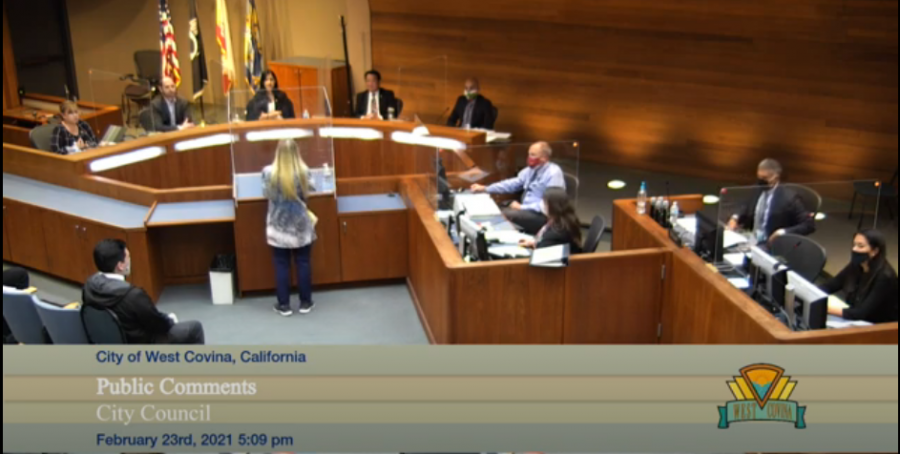 A screenshot of the city council meeting on February 23, 2021