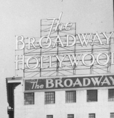 Los Angeles CA The Broadway Hollywood rooftop sign