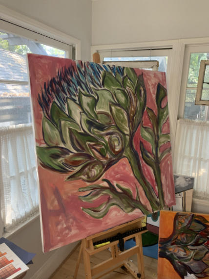 This image features Ms. Hoffmans favorite artwork: her artichoke painting!