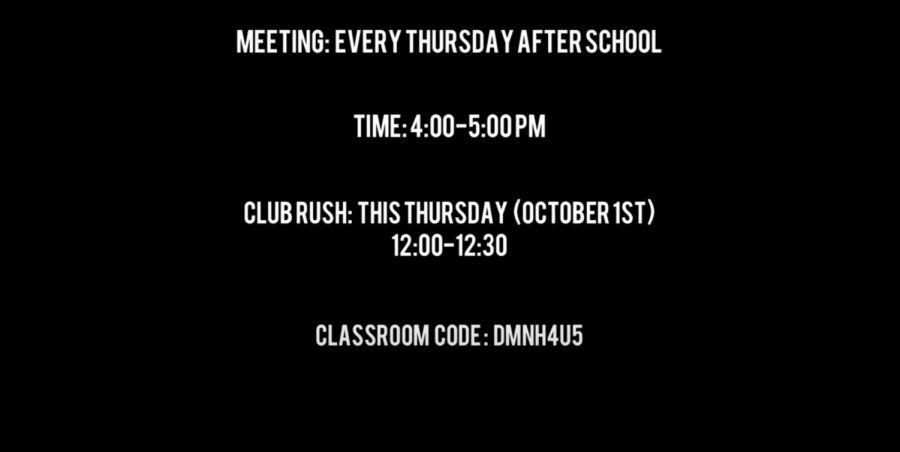 This is all of the important information to people who wish to join the club. This club has been running since October 1st.