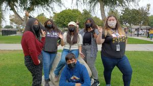 Freshmen students from Mt. Sac ECA pose in preparation for the 70's Disco themed dance on Friday October 1st.